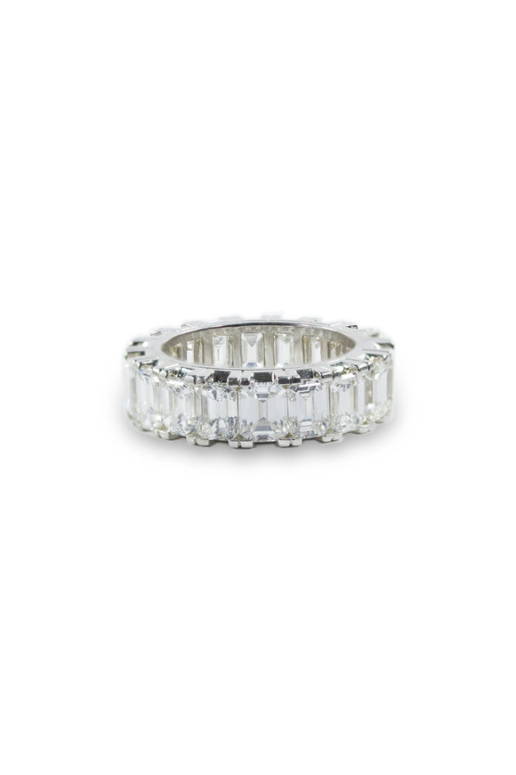 Oscar Heyman Platinum Emerald Cut Diamond Guard Ring
