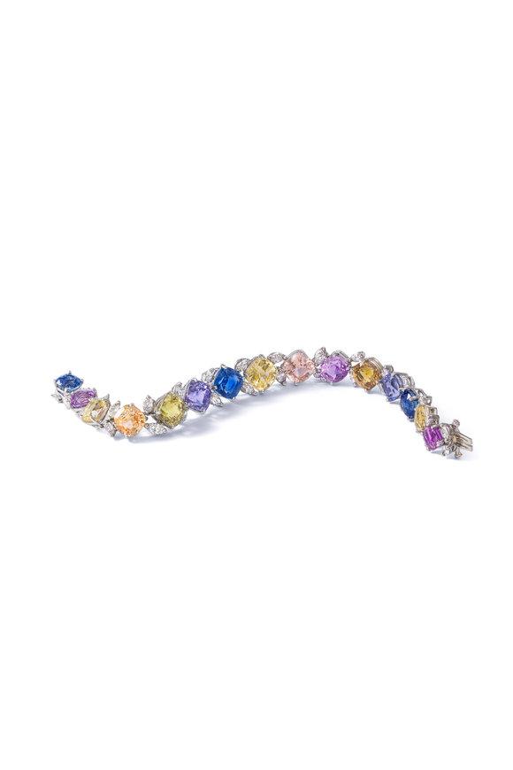 Oscar Heyman Platinum Multicolor Sapphire & Diamond Bracelet