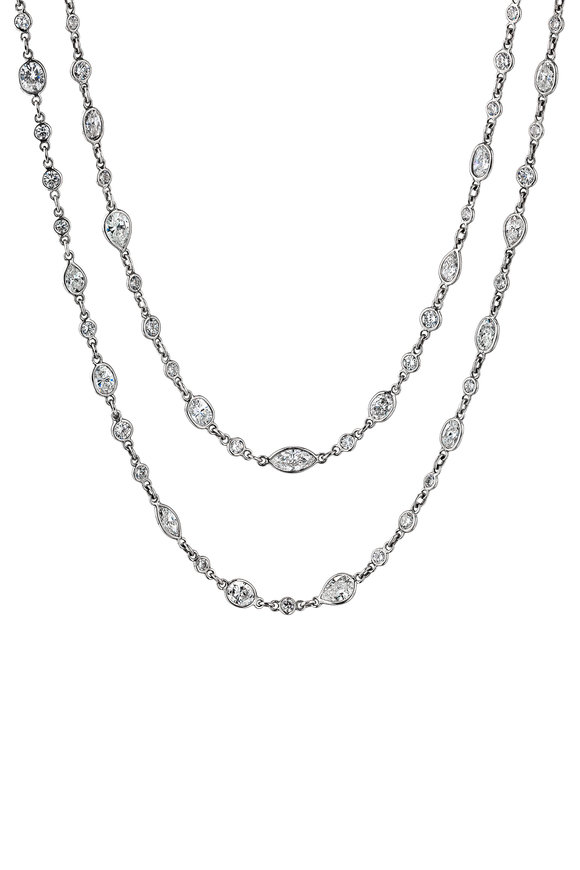 Oscar Heyman Platinum Multishape Diamond String Necklace