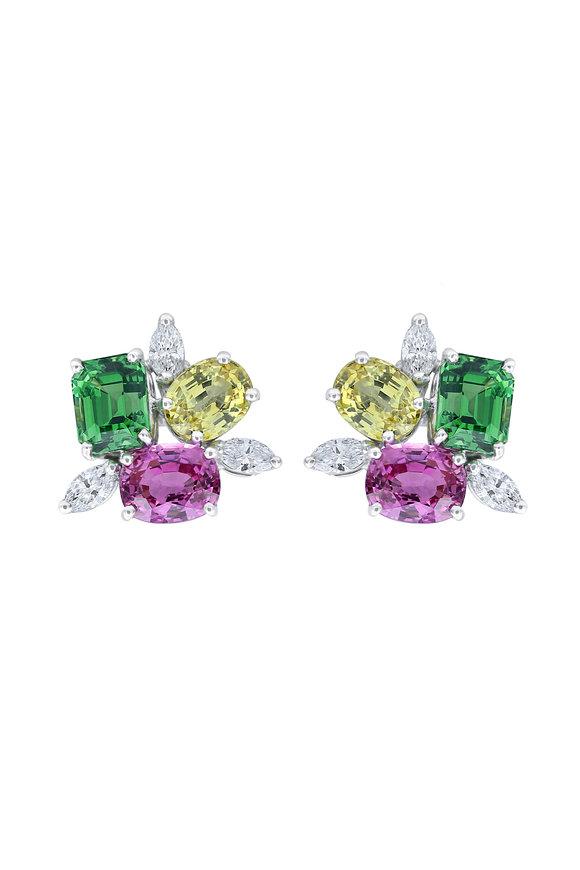 Oscar Heyman Platinum Tsavorite & Sapphire Earrings