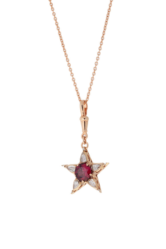Selim Mouzannar Rhodolite & Diamond Star Necklace