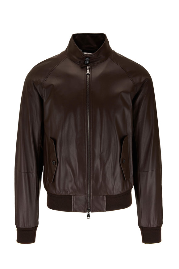 Ralph Lauren Brown Leather Front Zip Bomber Jacket