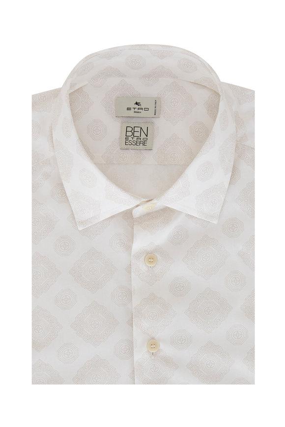 Etro Cream Tonal Print Sport Shirt
