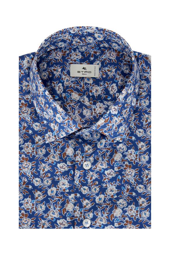 Etro Blue Mini Floral Cotton Sport Shirt