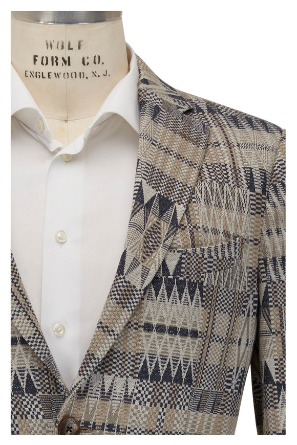 Etro Blue & Taupe Patchwork Sportscoat