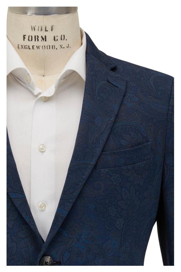 Etro Blue Tonal Paisley Sportscoat