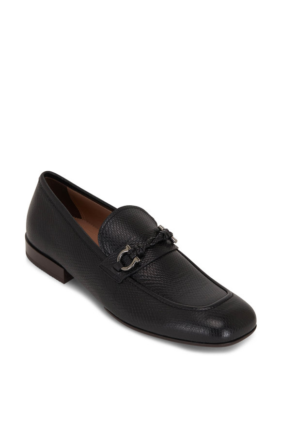 Salvatore Ferragamo Pago Black Textured Leather Loafer