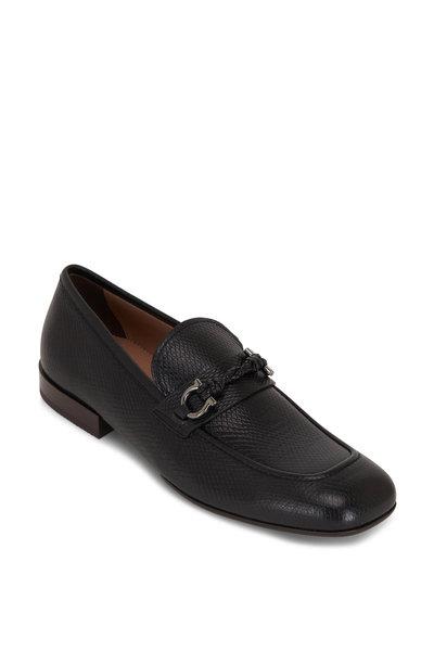 Salvatore Ferragamo - Pago Black Textured Leather Loafer