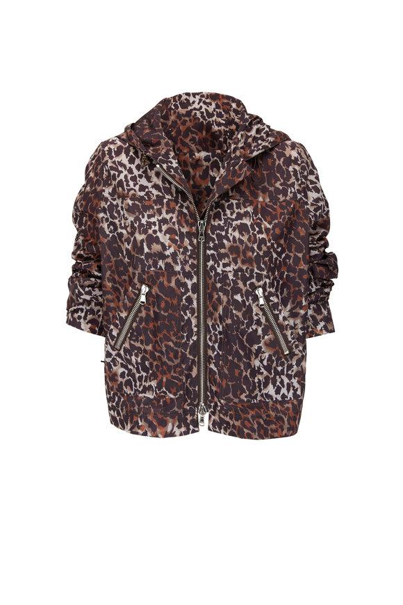 Veronica Beard Sibila Brown Multi Leopard Hooded Anorak