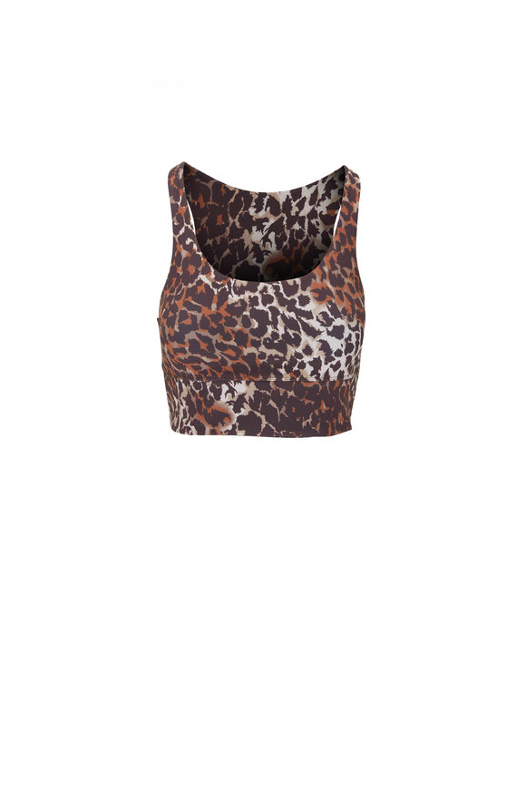 Veronica Beard Malea Brown Multi Leopard Print Sport Bra