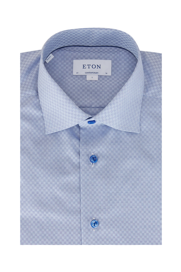 Eton Light Blue Squares Contemporary Fit Sport Shirt