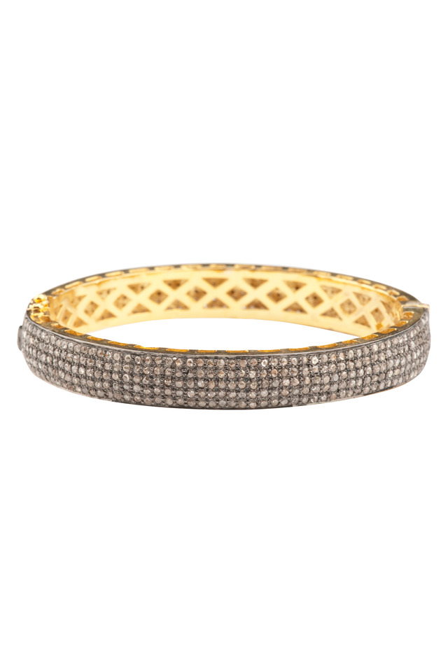 Pave Diamond Narrow Gold Bangle