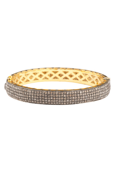 Loren Jewels - Pave Diamond Narrow Gold Bangle
