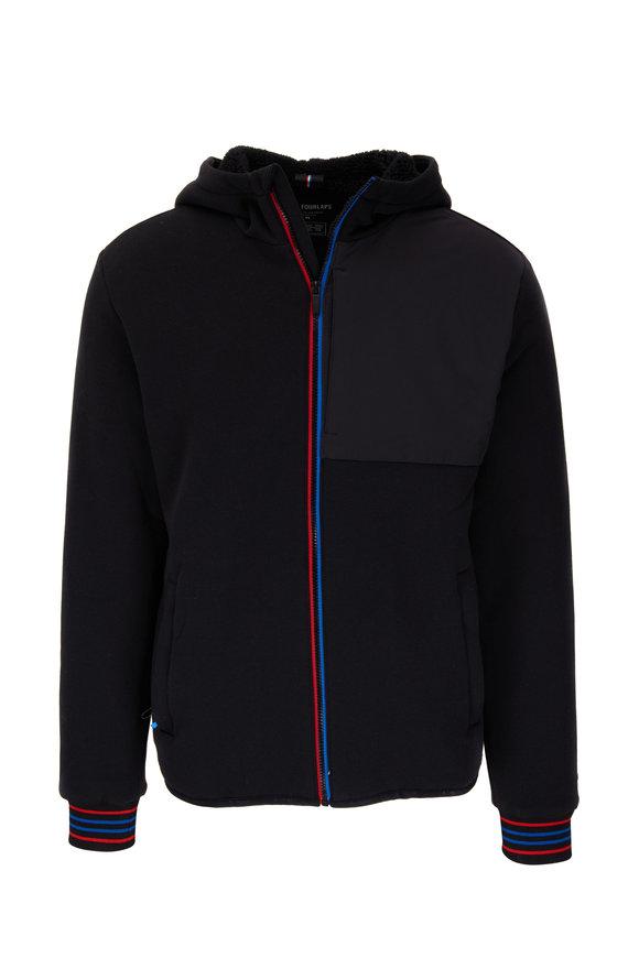 Fourlaps Expanse Black Fleece Lined Front Zip Hoodie