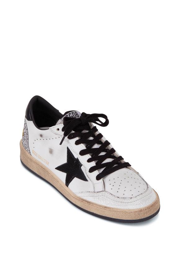 Golden Goose Ballstar White Leather & Glitter Heel Sneaker