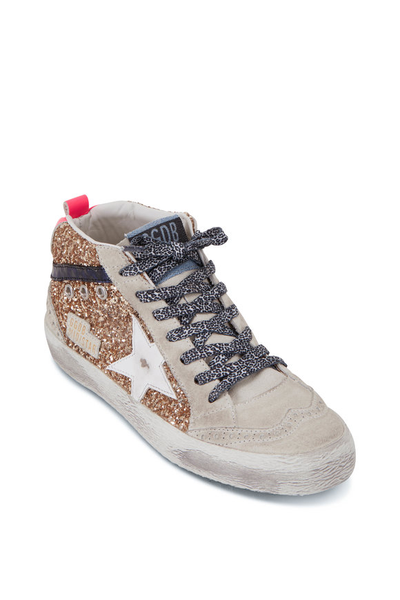 Golden Goose Midstar Champagne Glitter & Neon Heel Sneaker