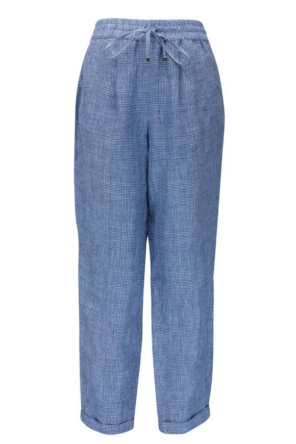 Kiton Light Blue Prince Of Wales Check Linen Pant