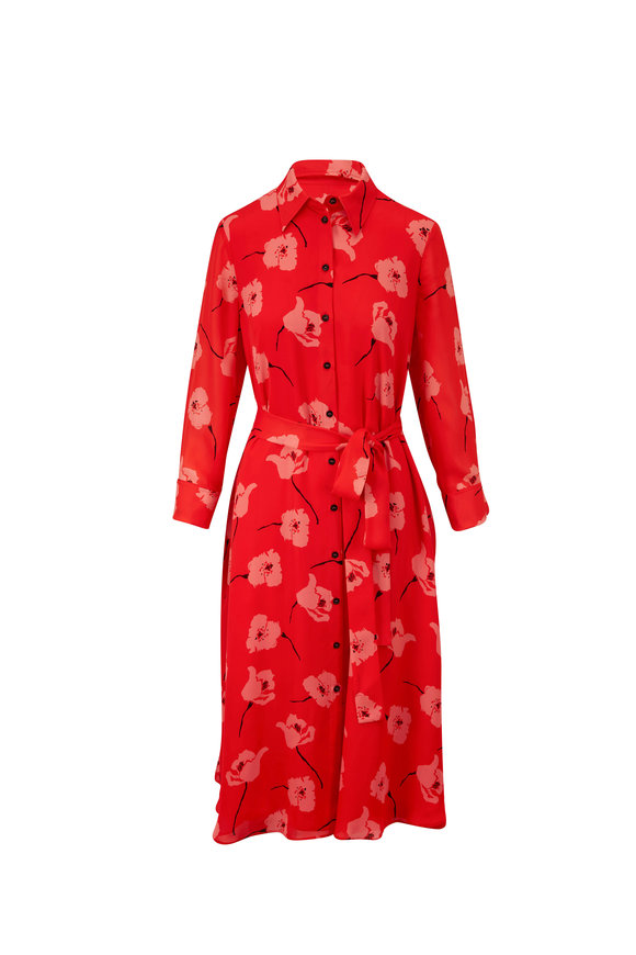 Carolina Herrera Paprika Multi Silk Floral Tie Waist Shirt Dress