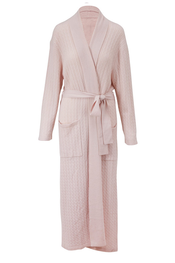 Chris Arlotta Light Pink Cashmere Baby Cable Robe With Tie Belt