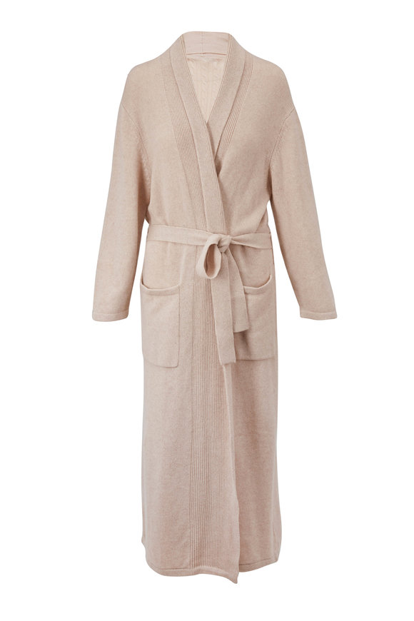 Chris Arlotta Oat Cashmere Long Robe With Tie Belt