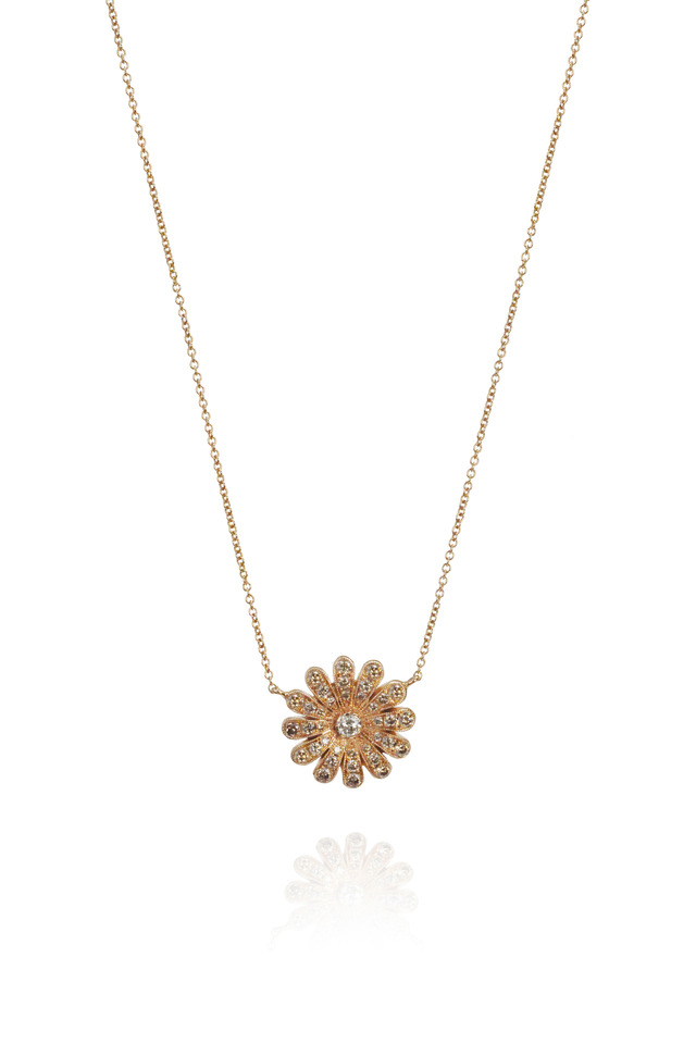 Diamond Gold Daisy Pendant
