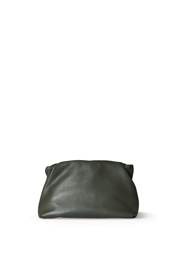 The Row Bourse Olive Smooth Leather Pouch Clutch