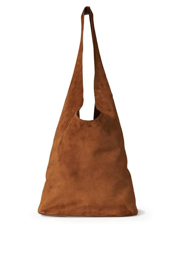The Row Bindle Three Caramel Suede Hobo Bag