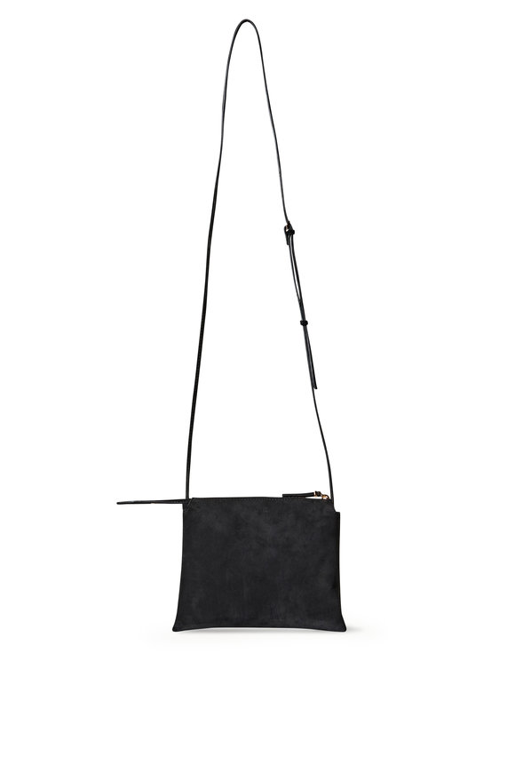 The Row Nutwin Black Suede Mini Crossbody Bag