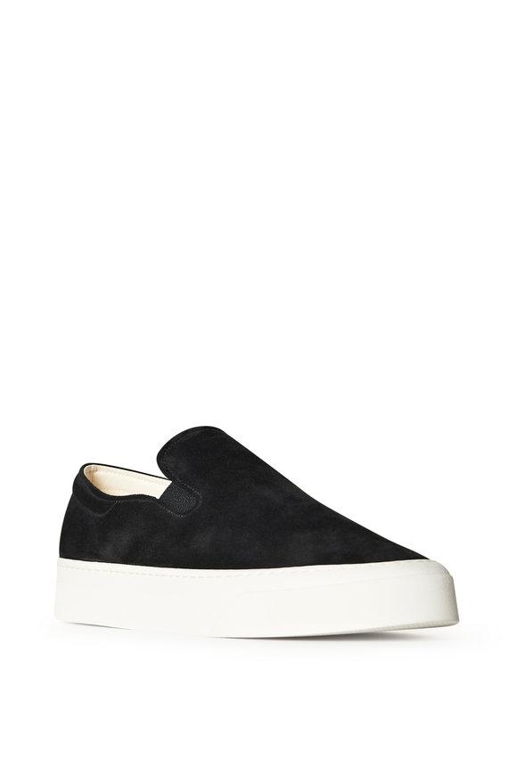 The Row Marie Black Suede Slip On Sneaker