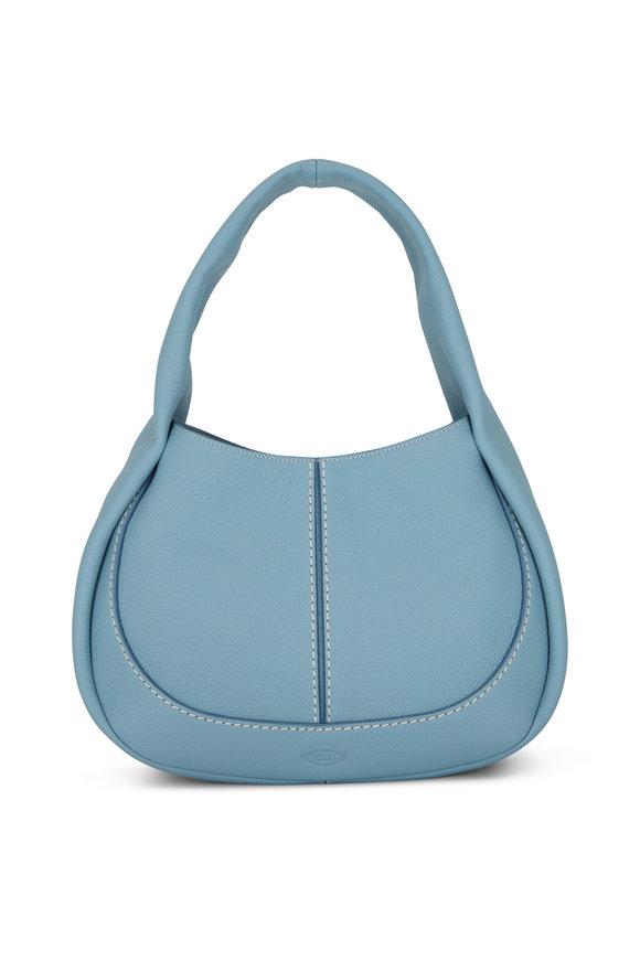 Tod's Shirt Hobo Light Blue Leather Small Handbag