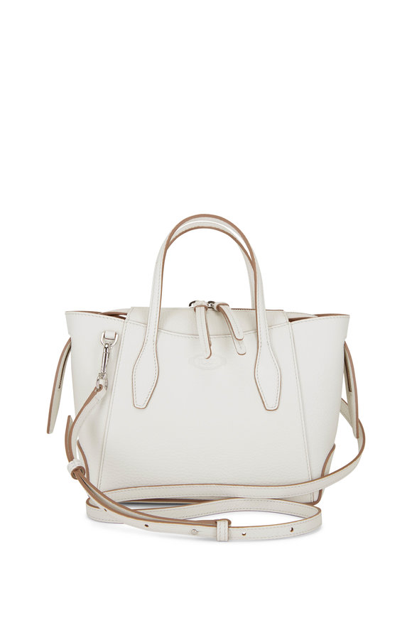 Tod's White Leather Micro Shopping Tote