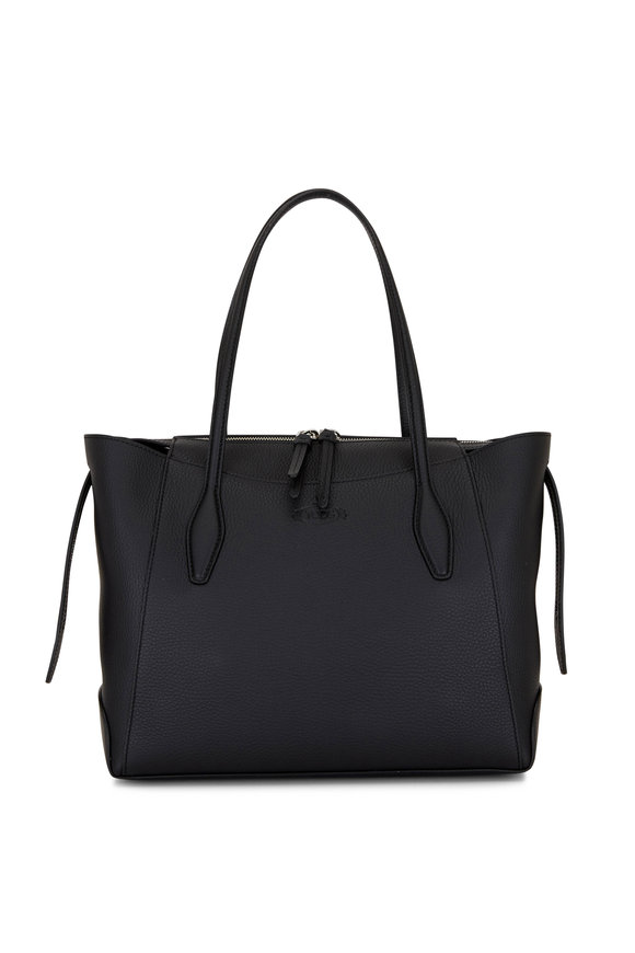Tod's Black Leather Medium Shopper Tote