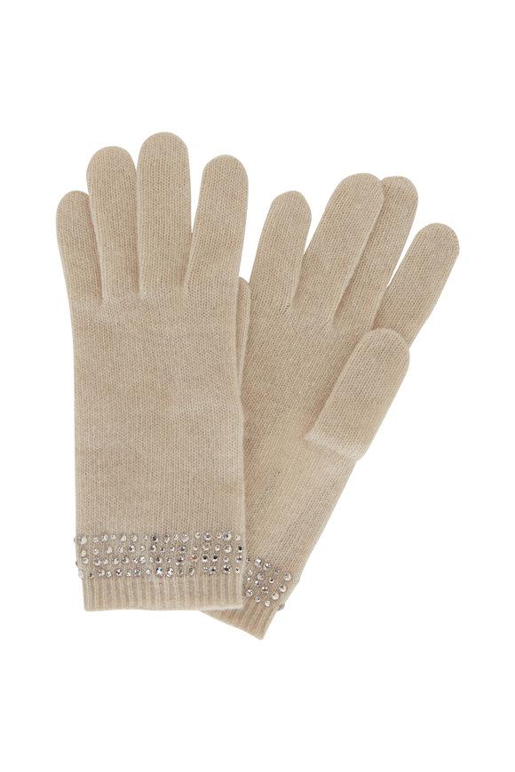 Carolyn Rowan Ivory Cashmere Swarovski Crystal Gloves