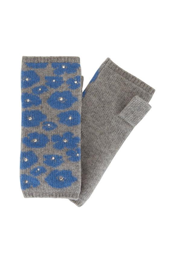 Carolyn Rowan Gray/Indigo Crystal Poppy Short Fingerless Gloves
