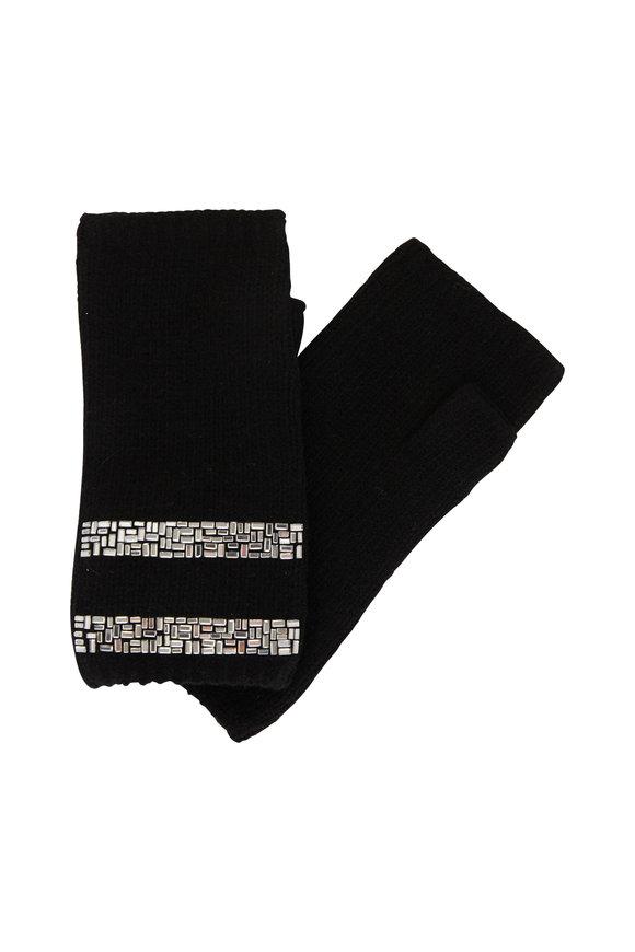 Carolyn Rowan Black Cashmere Short Fingerless Gloves