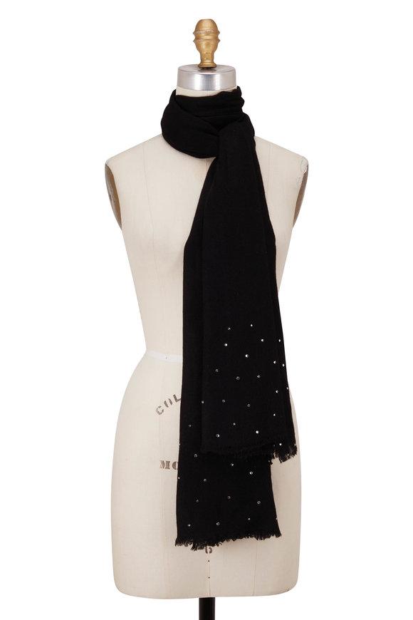 Carolyn Rowan Black Lightweight Cashmere Embellished Scarf