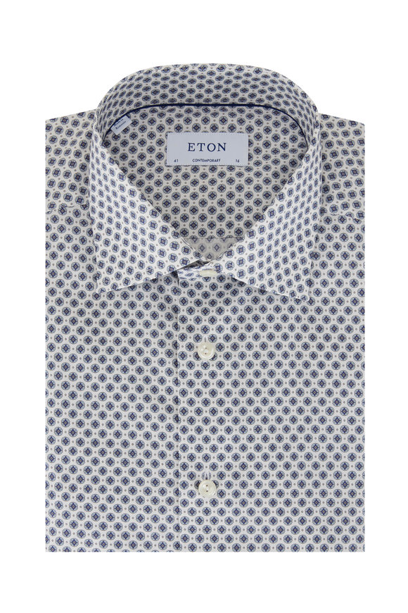Eton Blue Geometric Print Contemporary Fit Sport Shirt