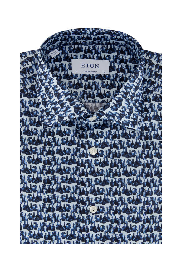 Eton Blue Glassblower Contemporary Fit Sport Shirt