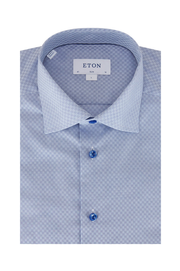 Eton Light Blue Tonal Square Slim Fit Sport Shirt