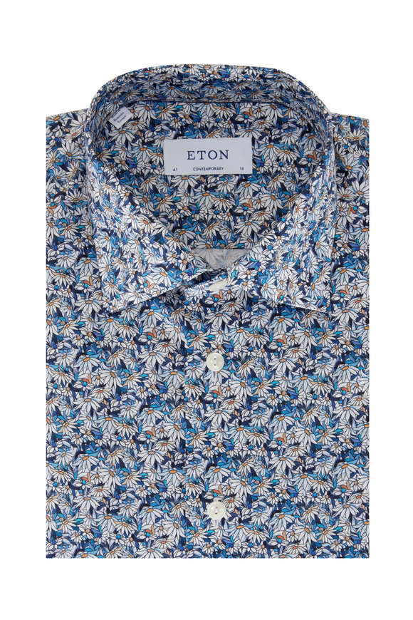 Eton Blue Stain Glass Contemporary Fit Sport Shirt