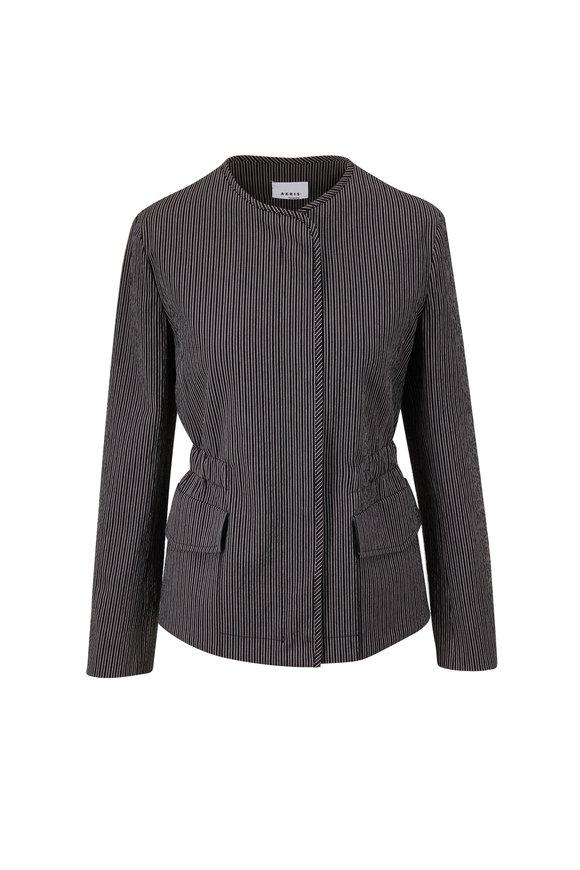 Akris Punto Black & White Seersucker Collarless Jacket