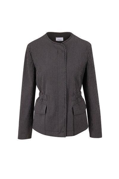 Akris Punto - Black & White Seersucker Collarless Jacket