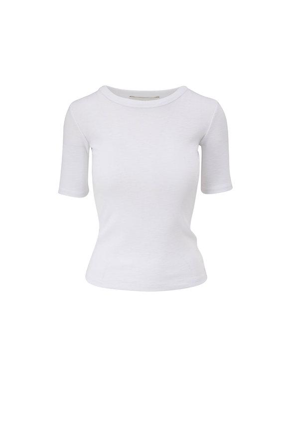 Vince White Slub Cotton Crewneck T-Shirt