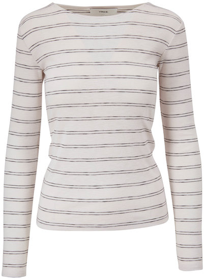 Vince White Double Pinstripe Crewneck Top