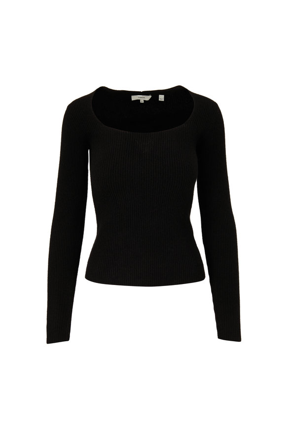 Vince Black Cashmere Square Neck Sweater