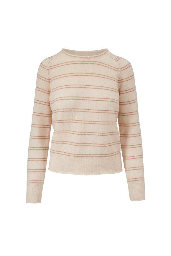 Vince Heather Shell & Camel Railroad Stripe Sweater
