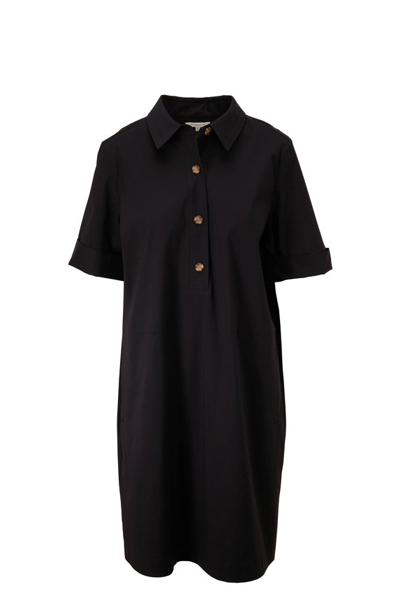 Lafayette 148 New York Conroy Black Stretch Cotton Short Sleeve Dress