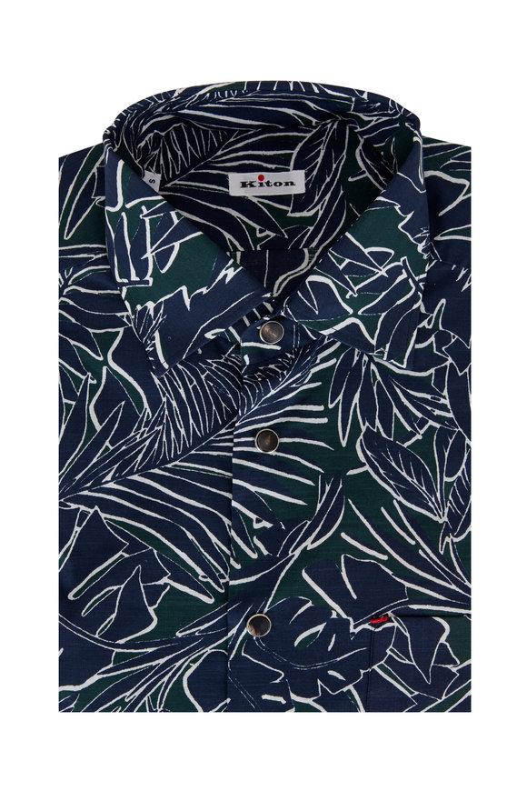 Kiton Navy & Green Floral Cotton Sport Shirt