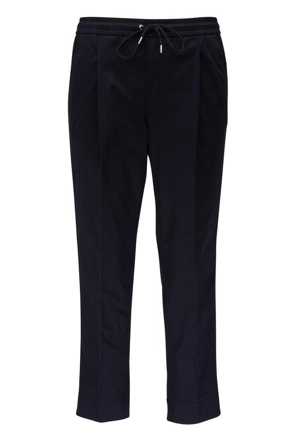 Moncler Navy Stretch Cotton Side Stripe Drawstring Pant