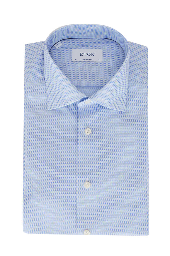 Eton Light Blue Tonal Dots Contemporary Fit Sport Shirt